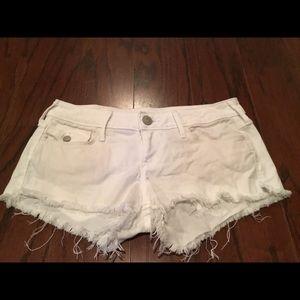 True Religion Joey white denim cut off shorts 27